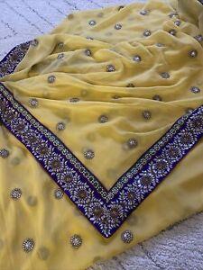 Bollywood Indian Asian Party Wear Sari Wedding Pakistani Yellow Saree