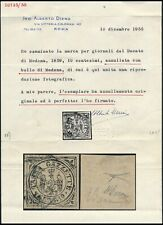 ITALY - DUCHY OF MODENA 1859, RR USED STAMP, DIENA CERTIFICATE, SEE..  #Z902