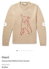 $1800 NWT Gucci Animal Magnetism Intarsia Knit Ribbed Cotton Sweater Size Small