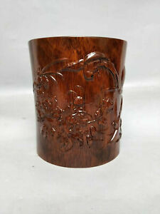Collectibles Lignumvitae Pen Container Carved Flower & Moon Brush Pot P107