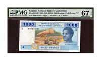 Central African States 2002 1000 Francs PMG Certified Banknote UNC 67 EPQ Gem U