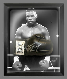 Mike Tyson Signed Black  Everlast Boxing Glove Presented In A Dome Frame. : C