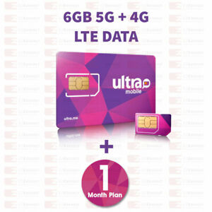 PreLoaded Ultra Mobile SIM Card with 6GB 4G LTE Data,1st Month Services included