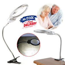 LED-illuminated Glass Loupe GO Clip-on Magnifier Metal Hose Magnifying Desk