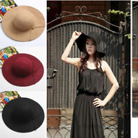New Fashion Womens Floppy Wide Brim Wool Felt Bowler Beach Hat Sun Cap Vintage