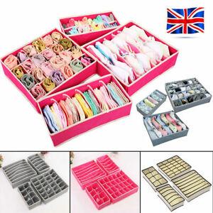 4 x Foldable Underwear Bra Fabric Socks Box Storage Organiser Drawer Dividers UK