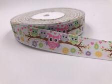 DIY 5 Yard 1'' 25MM owl gift Printed Grosgrain Ribbon Hair Bow Sewing Ribbon