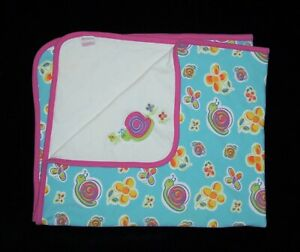 VTG Gymboree Snail Sunny Summer Days Baby Blanket Turquoise Pink Yellow Lovey