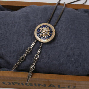 Sun Mysterious Totem Mens BOLO Tie Wedding Necklace Copper Rope Vintage Western