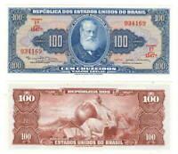 BRAZIL UNC 100 Cruzeiros Banknote (1964) P-170c Series 1547A Paper Money