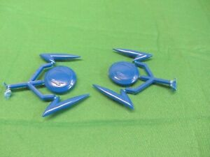 "Reproduction ULMA  Double Leg Shield Trim Blue ""Gems + Ticks "" Set Pair In Blue"