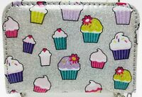 Teen Girls Glitter Cupcakes Zippered Bi Fold Wallet Purse with Key Ring New