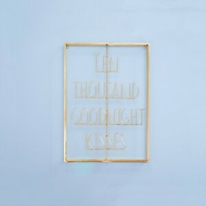 Bombay Duck 'TEN THOUSAND GOODNIGHT KISSES' Wire Word Wall Art Gold Brass Decor