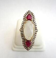 Rarities Carol Brodie Vermeil Rainbow Moonstone & Ruby Ring size 5 $239