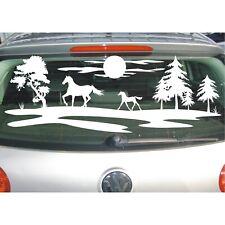 Landschaft AUFKLEBER Bäume Feld Wiese Pferd Reiter Sonne Baum Sticker Ponny