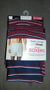 """M&S Jersey Boxers 3 Pairs Striped 100%Cotton Button Fly S W 30-32"""" Red Mix BNWT"""
