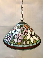 Vintage Tiffany Multi Coloured Glass Pendant ceiling light shade antique chain