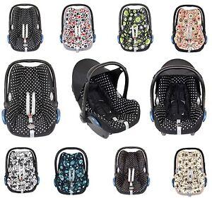 6 tlg. Ersatzbezug für Maxi Cosi CabrioFix  Babyschale Bezug Schwarz / Drops