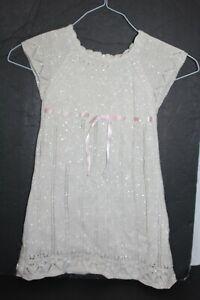 Bitty Baby by American Girl Fancy Sweater Dress MetallicSilver Cream Pink Bow 4