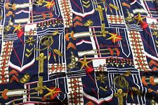 Vintage Nautical Fabric 2.5 Yards Navy Blue Synthetic Poly Shells Rope m1