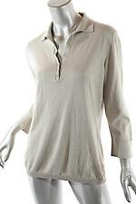 LORO PIANA Khaki Cotton Silk Blend 3/4 Sleeve POLO Sweater SOFT Sz 46 US 10