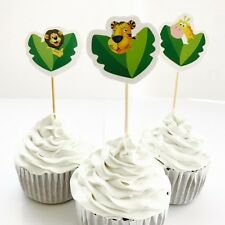 12x Jungle Safari Zoo Animal Cupcake Food Topper. Party Supplies Lolly Loot Bag