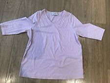 Baby Pink Anne Harvey Long Sleeve Top with beaded neckline decoration size 16