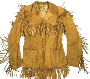 Vintage 50s Levis Levis Shorthorn Jacket Suede Leather Fringe Womens Distressed