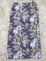 Tommy Bahama Womens Size 12 Purple Silk Wrap Skirt Floral Hawaiian Vintage