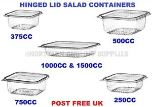 Clear Plastic Salad Food Containers with Hinged Lids Leakproof Stackable