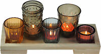 Set Of 5 Moroccan Inspired Glass Tea Light Candle Holders On Base