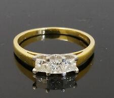 18Carat Yellow Gold Three Stone Princess Cu Diamond 0.50ct Ring (Size P)