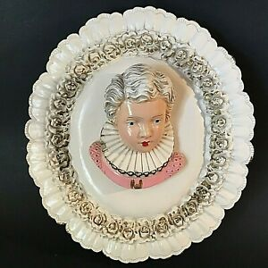 "MARY QUEEN OF SCOTS WALL DECOR CHALK WARE RELIEF 3D 15 1/2""H PORTRAIT RARE"