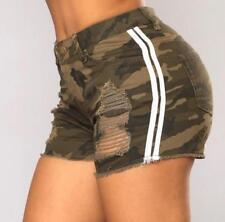 Womens Ladies High Waist Stretch Ripped Denim Jeans Shorts Hotpants