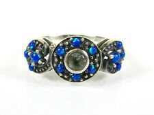 .10ct Natural Blue Topaz and Opal Victorian Deco Sterling Filigree Ring 1025O