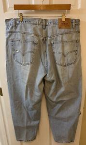 Levi's 560 Jeans Men 40 X 30 Light Blue Denim Tapered Leg Red Tab Destroyed