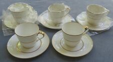 FIVE Mikasa Hunter Cup and Saucer Sets White with Gold Trim