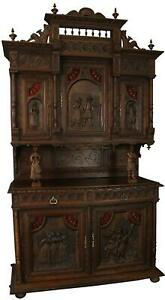 ANTIQUE BUFFET BRITTANY FRENCH HEAVILY CARVED CHESTNUT FIGURES DANCING MUS