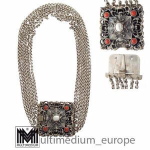 Art Deco Gustav Hauber Silber Trachtenkette Koralle Kropfkette 🌺🌺🌺🌺🌺