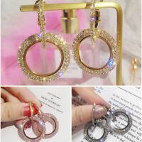 Rhinestone Circle Ear Hook Drop Dangle Hoop Earrings Charm Women Fashion Jewelry