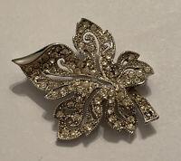 Vintage Signed Hedy Crystal Pave Rhinestone Ornate Leaf Brooch Silver Tone