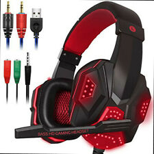 3.5mm Wired Gaming Headset Gaming Headphones LED with Mic for Gamer Skype PC US