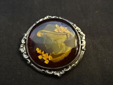 Sterling Silver Reverse Engraved Cameo Pin Brooch Jewelry