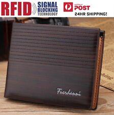 Men's Brown Leather RFID Blocking Anti Theft Wallet ! AU STOCK!