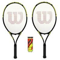 2 x Wilson Tour Slam Yellow Tennis Racket Set with 3 Tennis Balls RRP £110