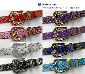 "35158 Rhinestone Belts Western Bling Crystal Studded Leather Belt 1-3/8"" wide"