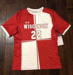 Under Armour Men's Wisconsin Badgers Soccer Jersey Sz. L NEW UJUJ1CM #22