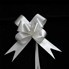 30 x 50mm Large Pull Bows Silver Satin Ribbons Wedding Gifts Wrap Car Decoration
