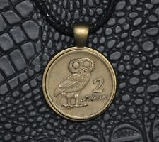 Authentic Greek Owl of Goddess Athena 2 Drachma Phoenix Bronze Coin Necklace