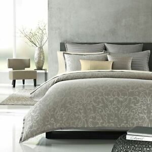 Hudson Park Gilded Scroll Quilted Standard Sham Gray $100 NEW